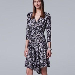 Vera Wang S Dress Black Floral Stretch Faux Wrap